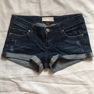 Garage, dark wash jean shorts
